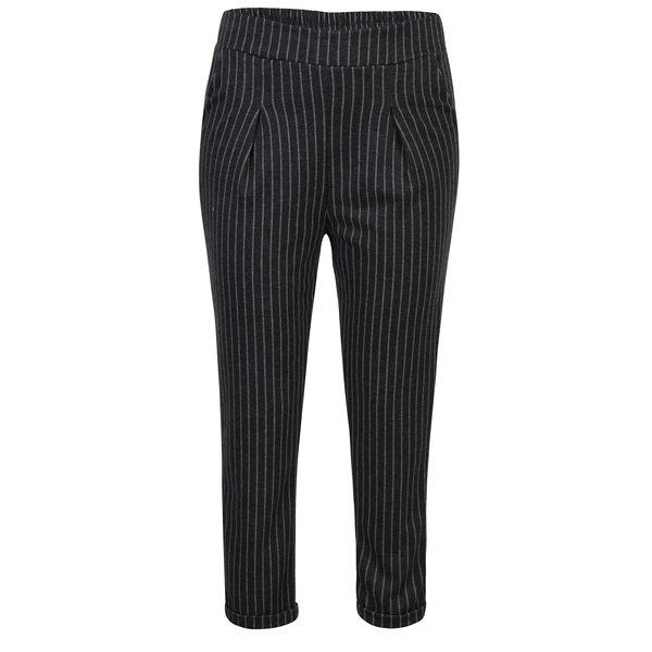 Pantaloni gri inchis cu dungi si talie inalta - Haily's Clara