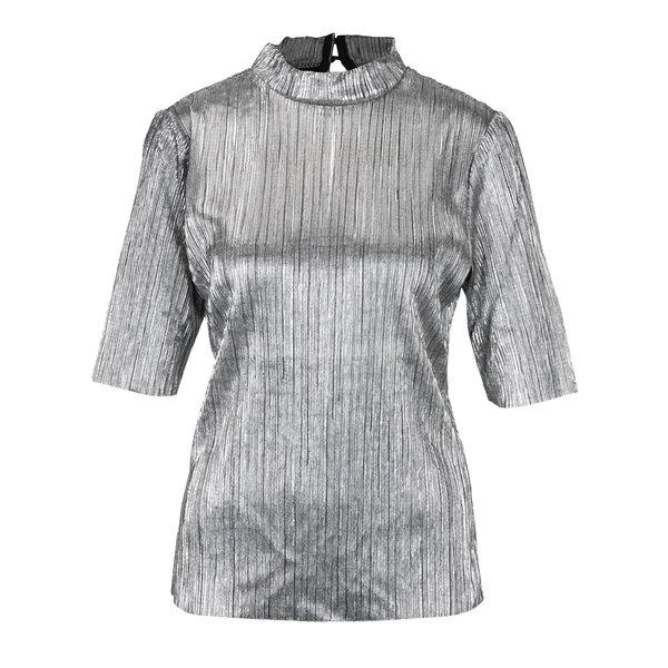 Bluza argintie cu aspect lucios si pliuri VILA Silvi