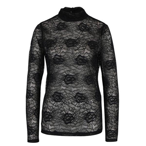 Bluza negra transparenta din dantela cu model floral VILA Ikas