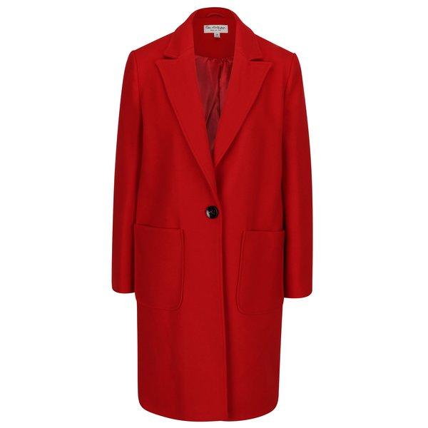 Palton rosu din amestec de lana Miss Selfridge