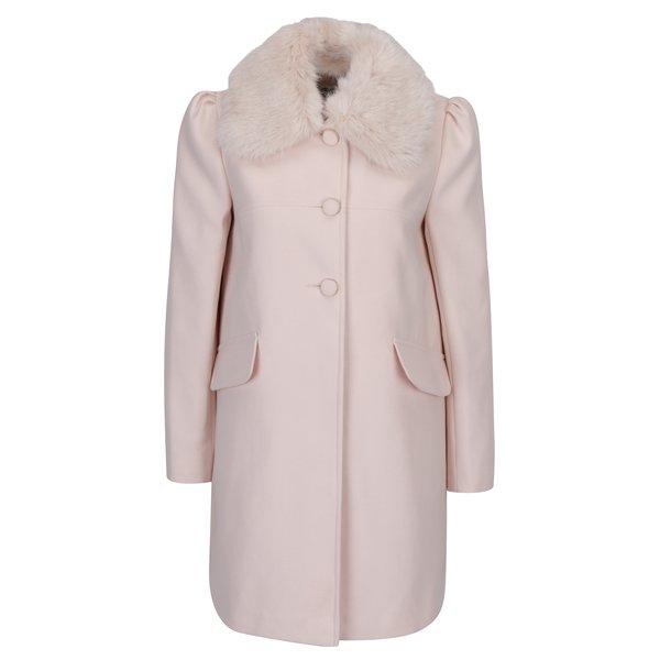 Palton crem cu blana artificiala si umeri bufanti Miss Selfridge
