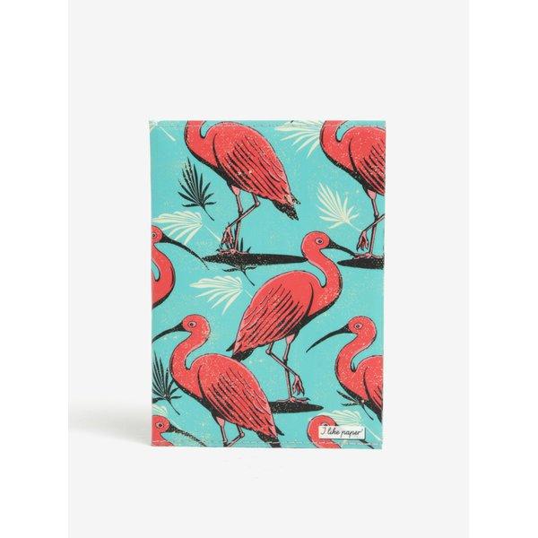 Carnetel handmade A6 turcoaz cu flamingo roz -I Like Paper A6