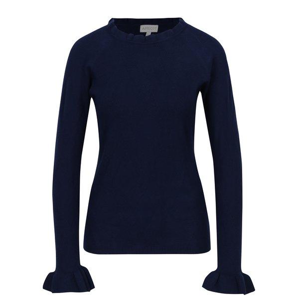 Pulover tricotat albastru cu volane discrete – Apricot