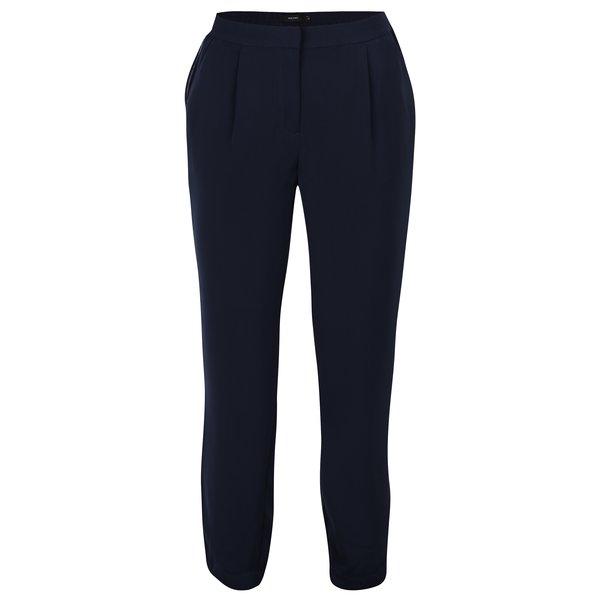 Pantaloni bleumarin cu talie inalta si aplicatie laterala VERO MODA Adrianne