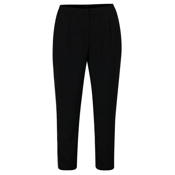 Pantaloni negri cu talie inalta si aplicatie laterala VERO MODA Adrianne