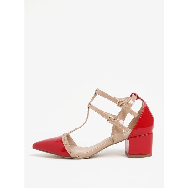 Sandale rosii cu aspect lucios, barete si toc masiv - Miss KG Averie