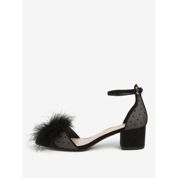 Sandale negre cu puf, toc masiv si varf ascutit - Miss KG Eleri-