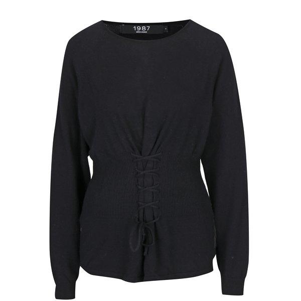 Pulover negru cu aplicatie tip corset VERO MODA Oria