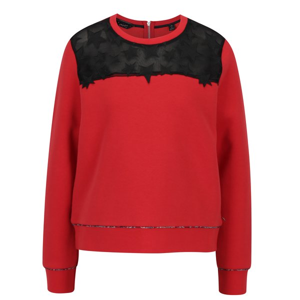 Bluza sport rosie cu aplicatie din plasa si stele brodate - Scotch & Soda