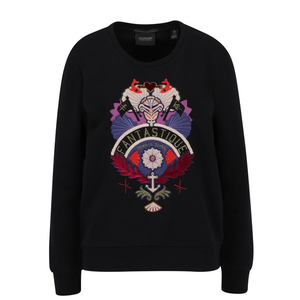Bluza sport neagra cu aplicatie brodata multicolora – Scotch & Soda