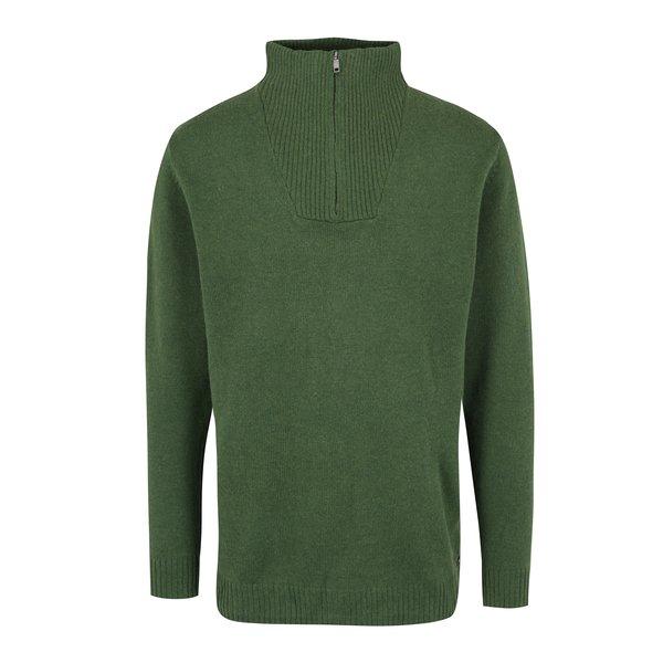 Pulover verde cu guler inalt si fermoar - JP 1880