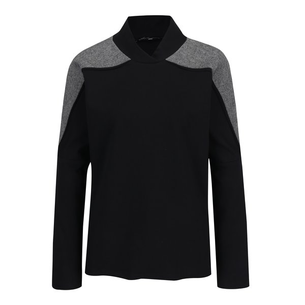 Bluza lejera cu insertie de material cu model Herringbone Lena Criveanu
