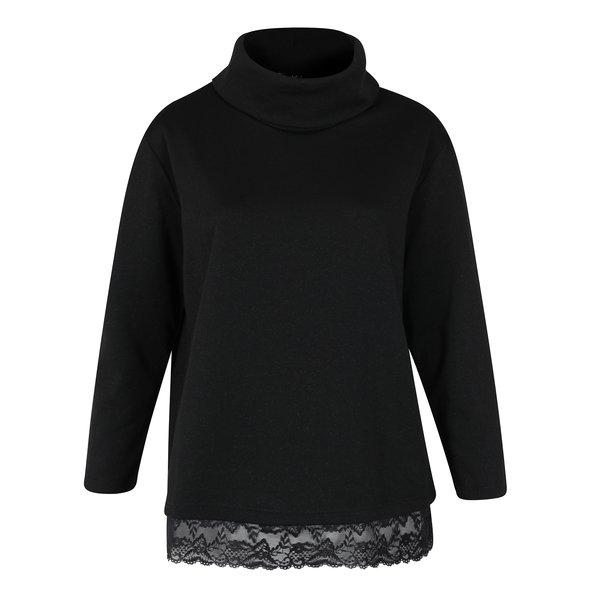 Bluza sport neagra cu guler inalt si terminatie din dantela – Ulla Popken