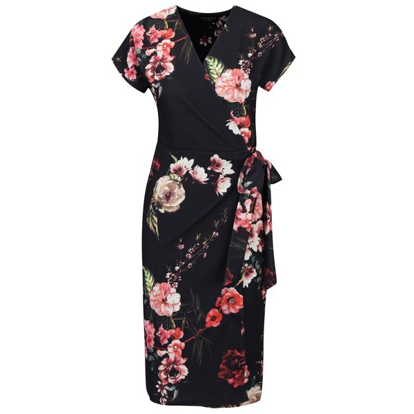 Rochie neagra cu print floral, funda in talie si model suprapus - Dorothy Perkins