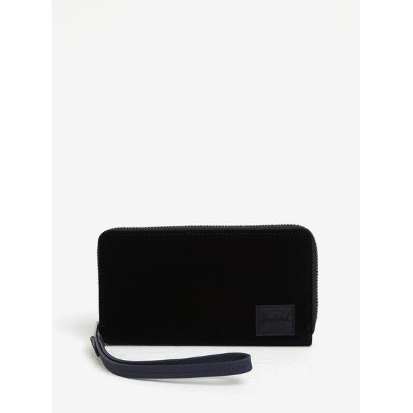 Portofel bleumarin cu aspect catifelat si tehnologie anti-furt Herschel Thomas