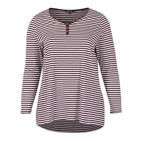 Bluza cu dungi bordo & alb din bumbac - Ulla Popken