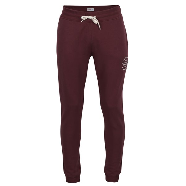 Pantaloni sport bordo cu print text Jack & Jones Originals Softneo