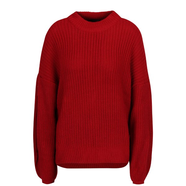 Pulover rosu tricotat cu maneci balon - TALLY WEiJL