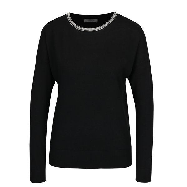 Pulover negru cu aplicatii pe decolteu - Haily´s Shila