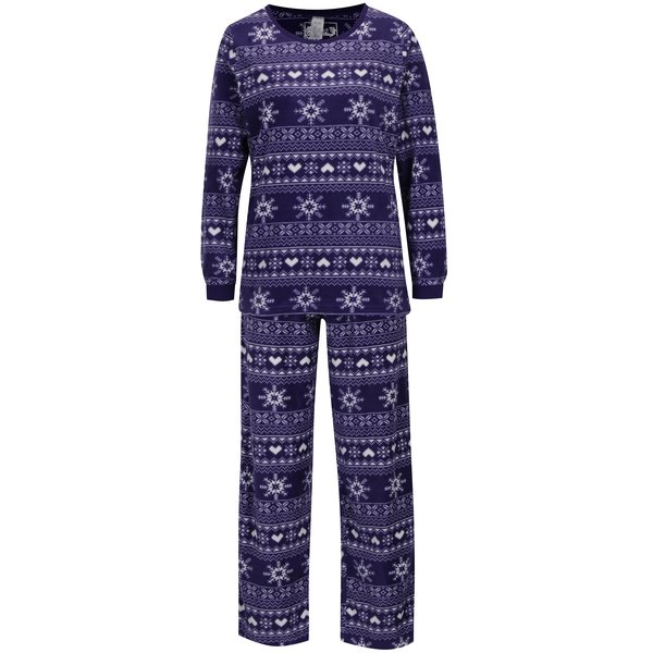 Pijama violet&alb din fleece cu print norvergian M&Co
