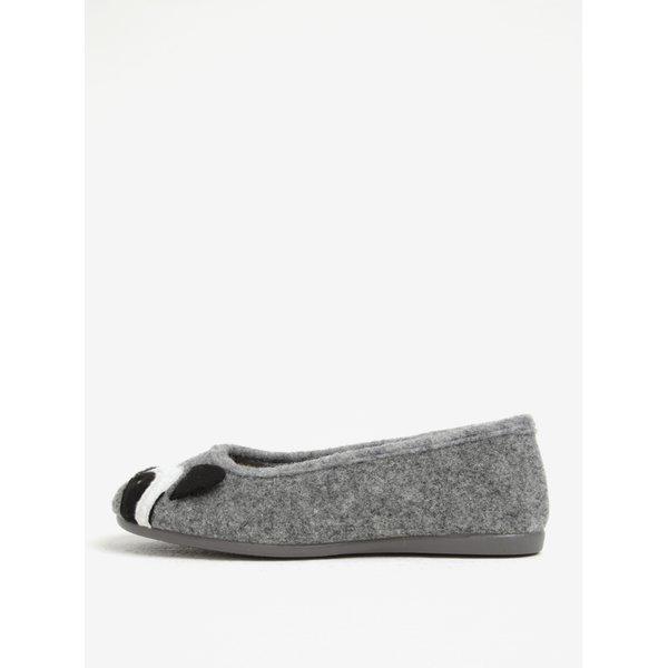 Papuci de casa gri cu model panda pentru femei - OJJU