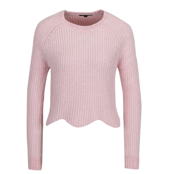 Pulover tricotat roz deschis cu terminatie ondulata - TALLY WEiJl