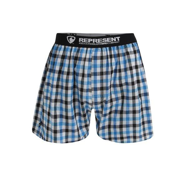 Boxeri cu carouri albastru & negru si talie elastica - Represent Mikebox