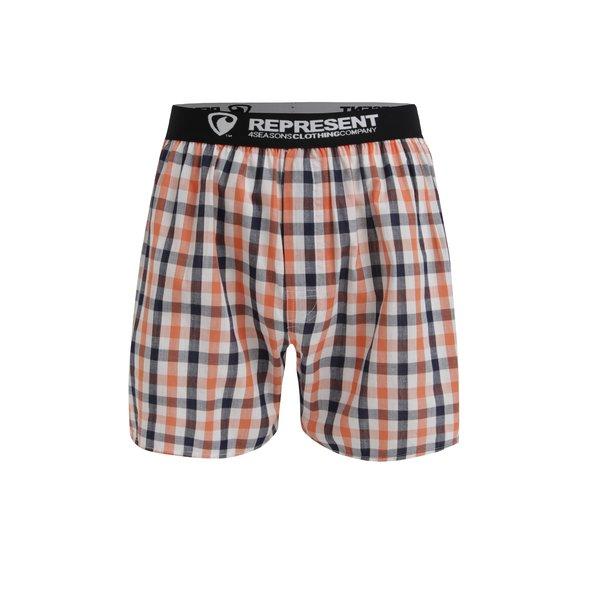 Boxeri din bumbac cu talie elastica si carouri gri & oranj - Represent Mikebox