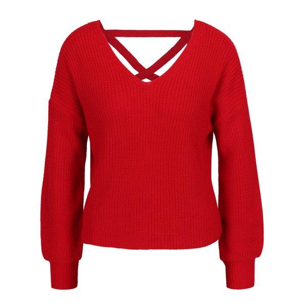 Pulover rosu tricotat cu bretele incrucisate la spate - Miss Selfridge