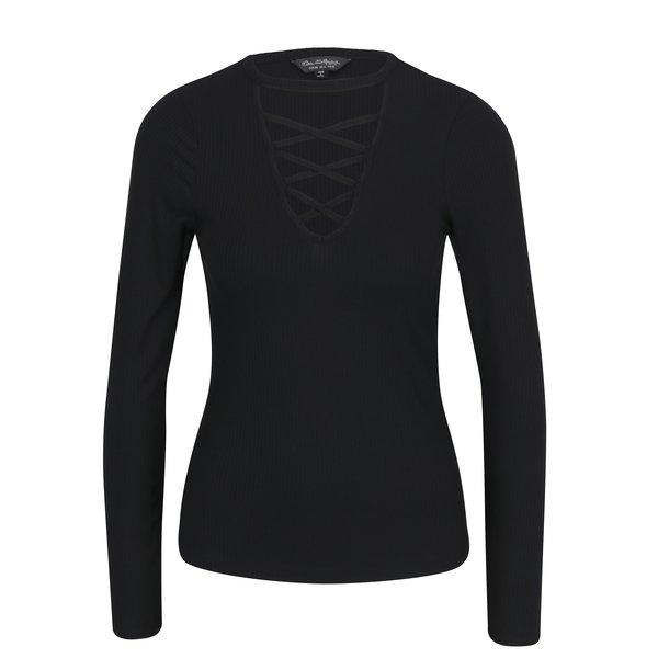 Bluza neagra cu bretele incrucisate si dungi in relief - Miss Selfridge