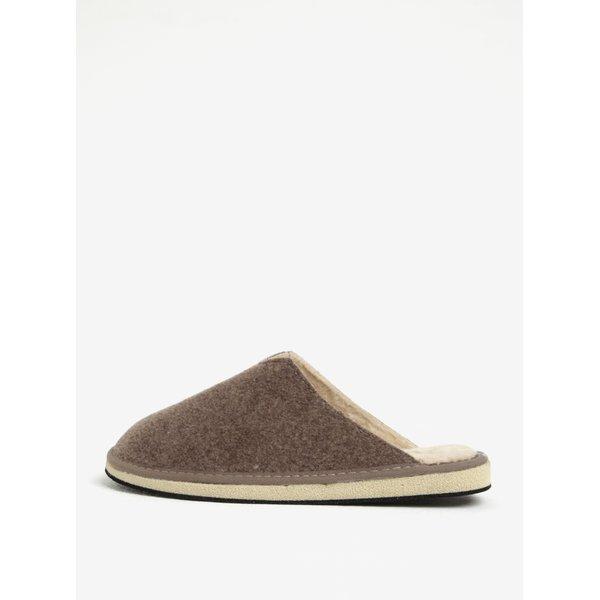 Papuci maro de casa cu dublura pentru femei - OJJU
