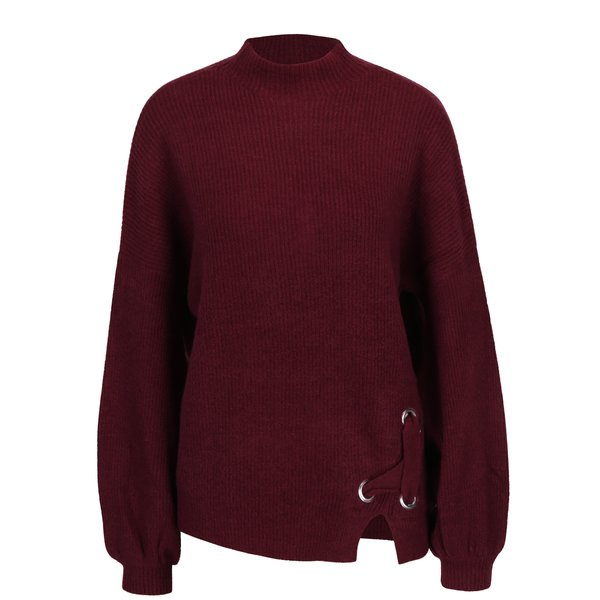 Pulover bordo cu bretele incrucisate - Miss Selfridge