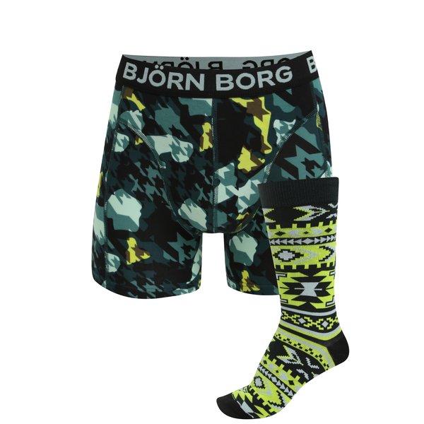 Set de boxeri si sosete verde neon & negru - Björn Borg