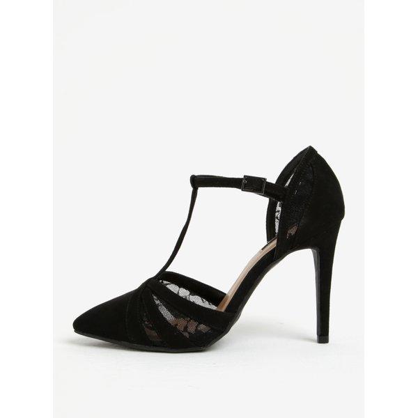 Sandale negre cu toc cui si insertii de dantela Dorothy Perkins