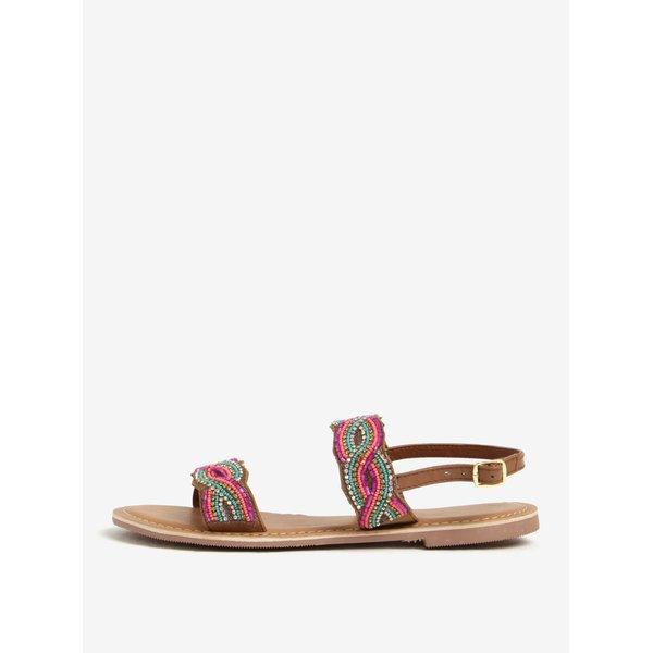 Sandale maro din piele cu margele multicolore Dorothy Perkins