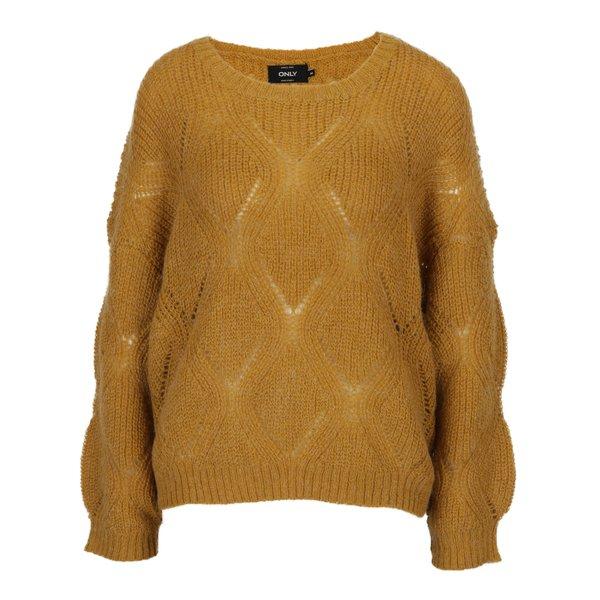 Pulover tricotat oversized galben mustar cu amestec de mohair - ONLY Rihanna