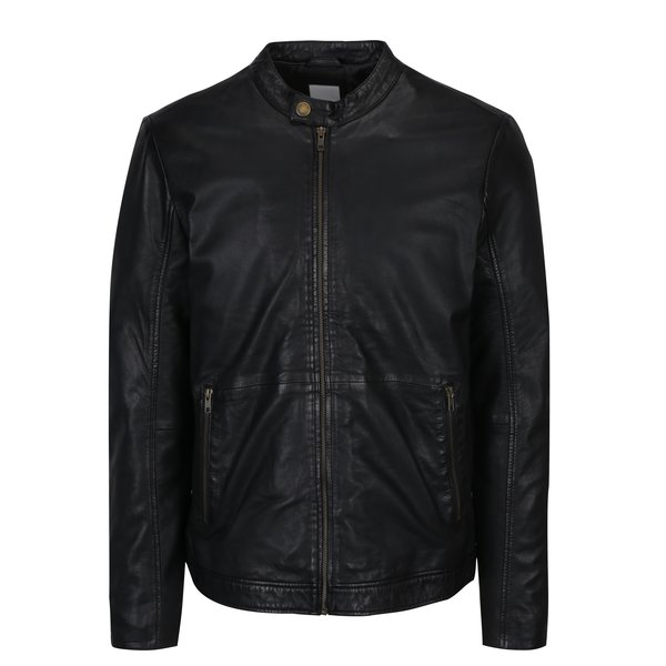 Jacheta neagra din piele naturala Lindbergh