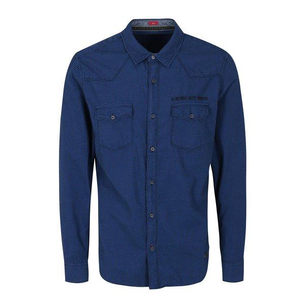 Camasa slim fit albastru cu negru cu buzunare pentru barbati s.Oliver