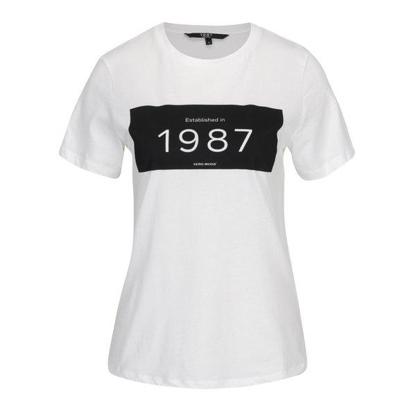 Tricou crem cu print VERO MODA History