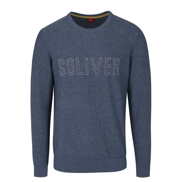Pulover bleumarin melanj cu logo brodat s.Oliver