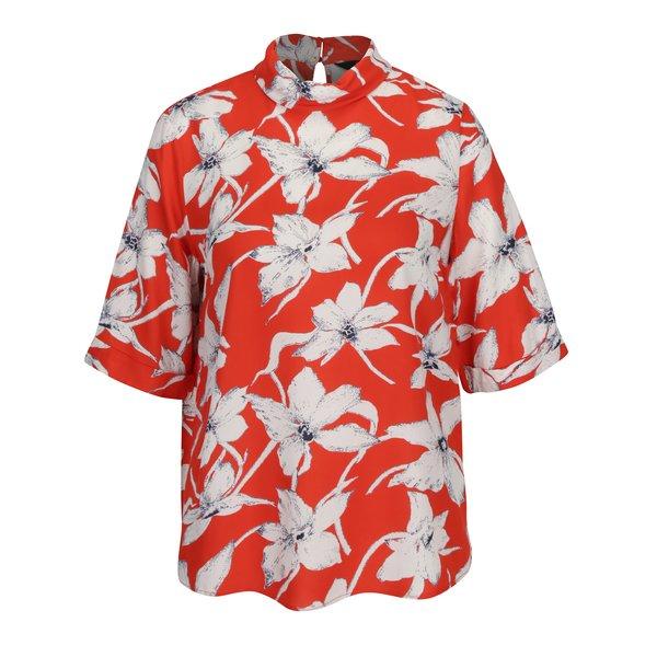 Bluza rosie cu print floral si maneci 3/4 VERO MODA July