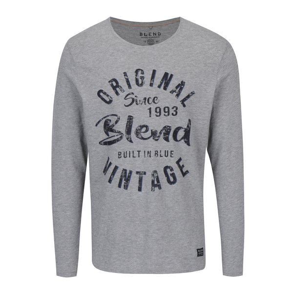 Bluza slim fit gri melanj cu print - Blend