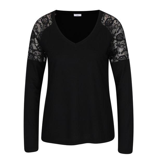 Bluza neagra cu decolteu anchior si dantela pe umeri - Jacqueline de Yong Parvola