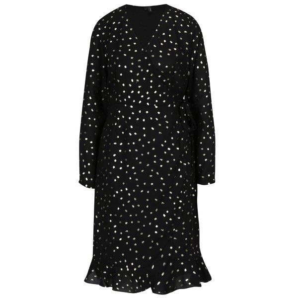 Rochie neagra cu print buline si volane VERO MODA Henna
