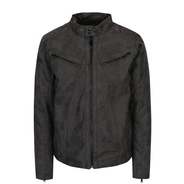 Jacheta gri inchis cu aspect de piele si interior matlasat - Blend