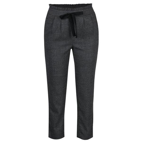 Pantaloni gri inchis cu funda in talie - ONLY Margo
