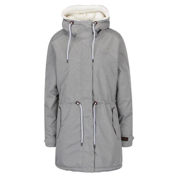 Geaca gri impermeabila de iarna cu gluga pentru femei - NUGGET Lisa 2