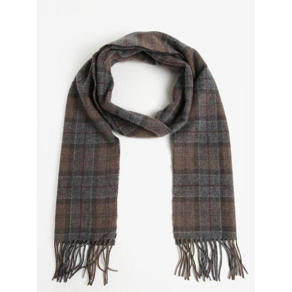 Fular barbatesc maro din lana cu franjuri si carouri - Winter Barbour Tartan Lambswool