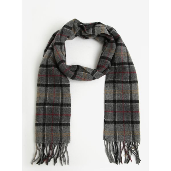 Fular barbatesc gri din lana cu carouri si franjuri - Modern Barbour Tartan LambswooL