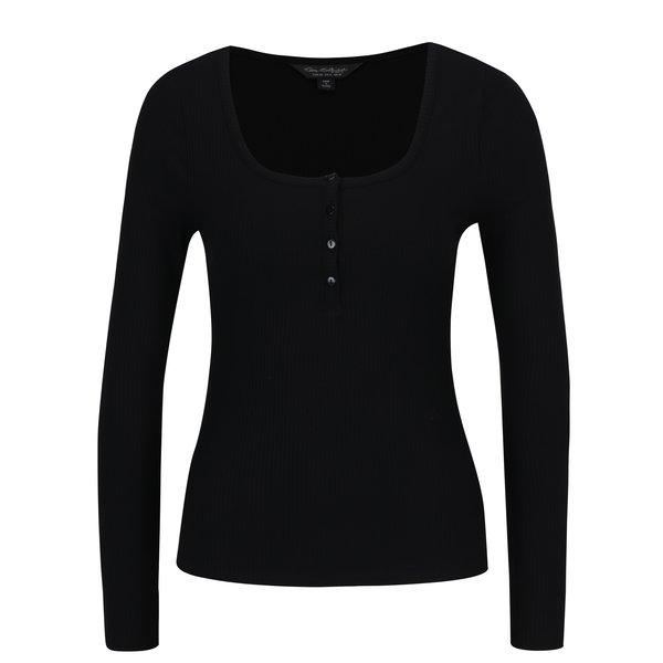 Bluza neagra cu nasturi si dungi in relief Miss Selfridge
